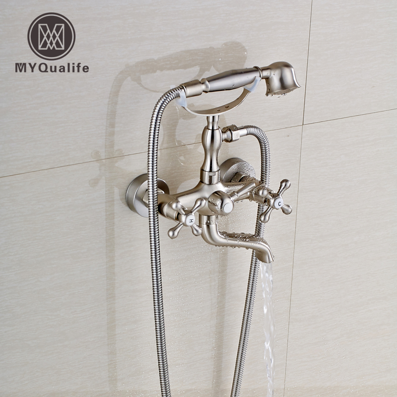 цена Good Quality Wall Mount Brushed Nickel Bathtub Faucet Dual Handles with Handshower Bathroom Tub Mixer Taps