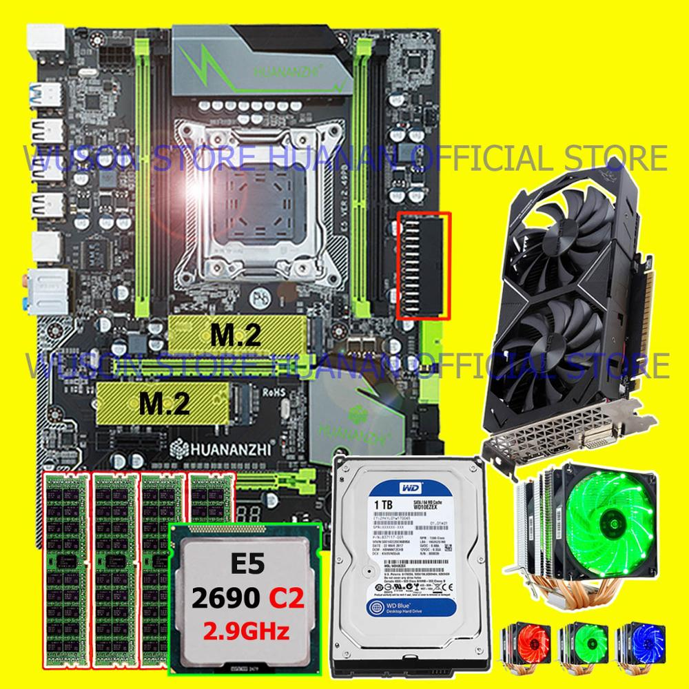 On Sale Brand HUANANZHI X79 Pro Motherboard Dual M.2 Slot Video Card GTX1050Ti 1TB HDD CPU Xeon E5 2690 CPU Cooler RAM 16G(4*4G)