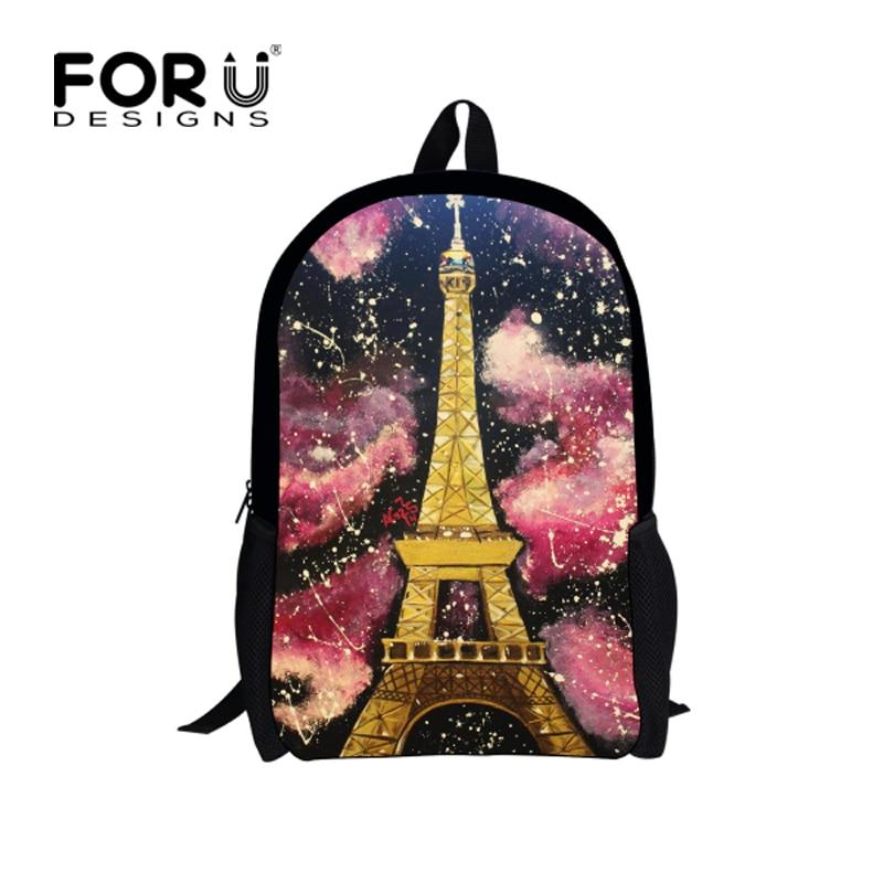 FORUDESIGNS Designer Children Paris Eiffel Tower Printing Backpacks Vintage Canvas Kid School Bag for Girl Women Backbag Mochila hanae mori paris vintage юбка винтажная 70e