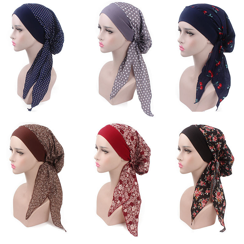 Muslim Women Elastic Cotton Turban Hat Scarves Pre-Tied Cancer Chemo Beanies Bandana   Headwear   Head Wrap Hair Loss Accessories
