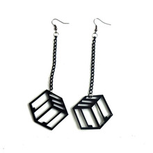 Women Club Fashion Jewelry Accessories Punk black Acrylic Big Long Letter Earrings Hip Hop Piece