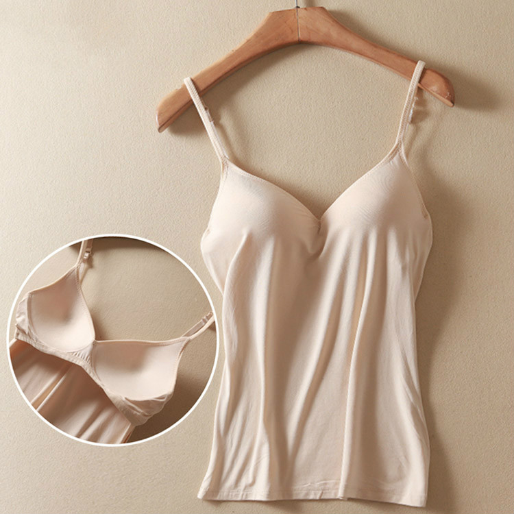 e1421bc005 Ejqyhqr Summer Sexy V Neck Camisole Women Adjustable Strap Built In Bra  Padded Wire Free Bra