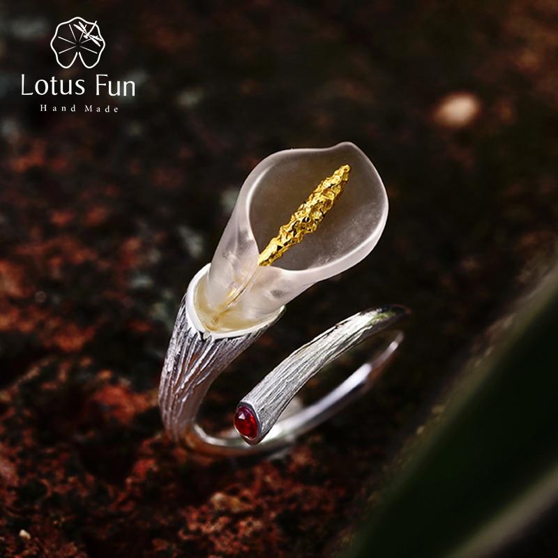 Lotus Fun Real 925 Sterling Silver Natural Gemstones Designer Fine Jewelry Calla Lily Flower Ring Adjustable Rings Women Bijoux 1