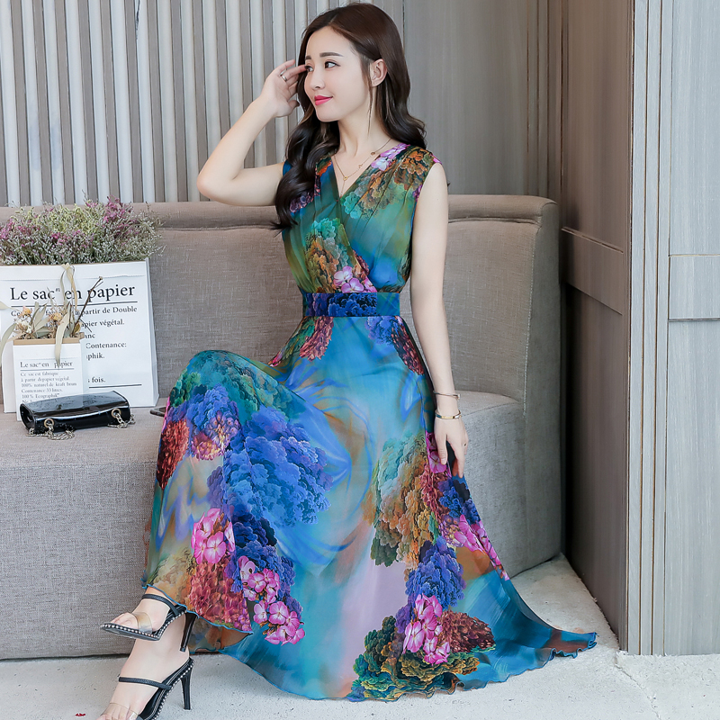 YICIYA Green Long Dresses Woman Party Night 2019 Summer plus size big for women long dress bodycon print floral elegant chiffon