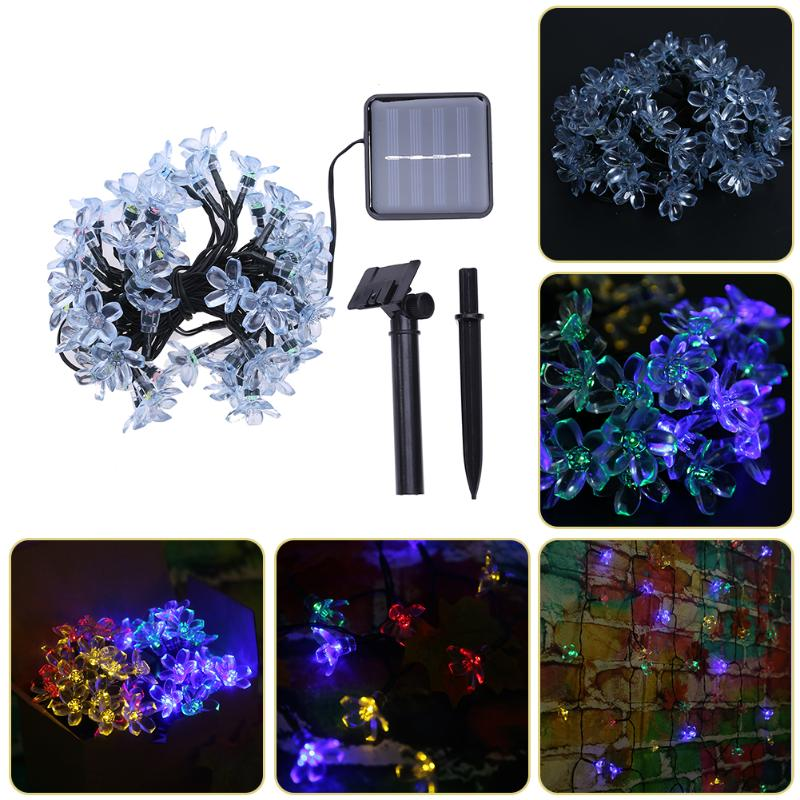 Colorful Solar Light 50 LED Peach Blossom Solar Fairy String Light Fascinating Lighting  ...