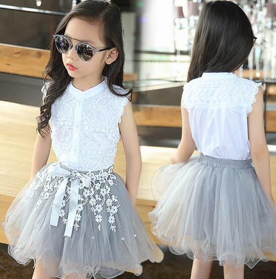 Children's Clothing Sets Two-piece Sleeveless Cotton Tops Floral Princess Shirt Kids Clothes Toddler Girl Outfits Ensemble fille ins princess girl clothings sets flare sleeve tops