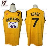 BONJEAN New Cheap Toni Kukoc 7 Jugoplastika Throwback Basketball Jersey Yugoslavia Yellow Stitched Sewn Retro Mens