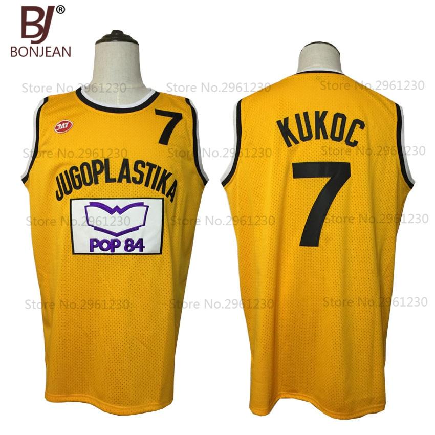 все цены на BONJEAN New Cheap Toni Kukoc 7 Jugoplastika Throwback Basketball Jersey Yugoslavia Yellow Stitched Sewn Retro Mens Shirts