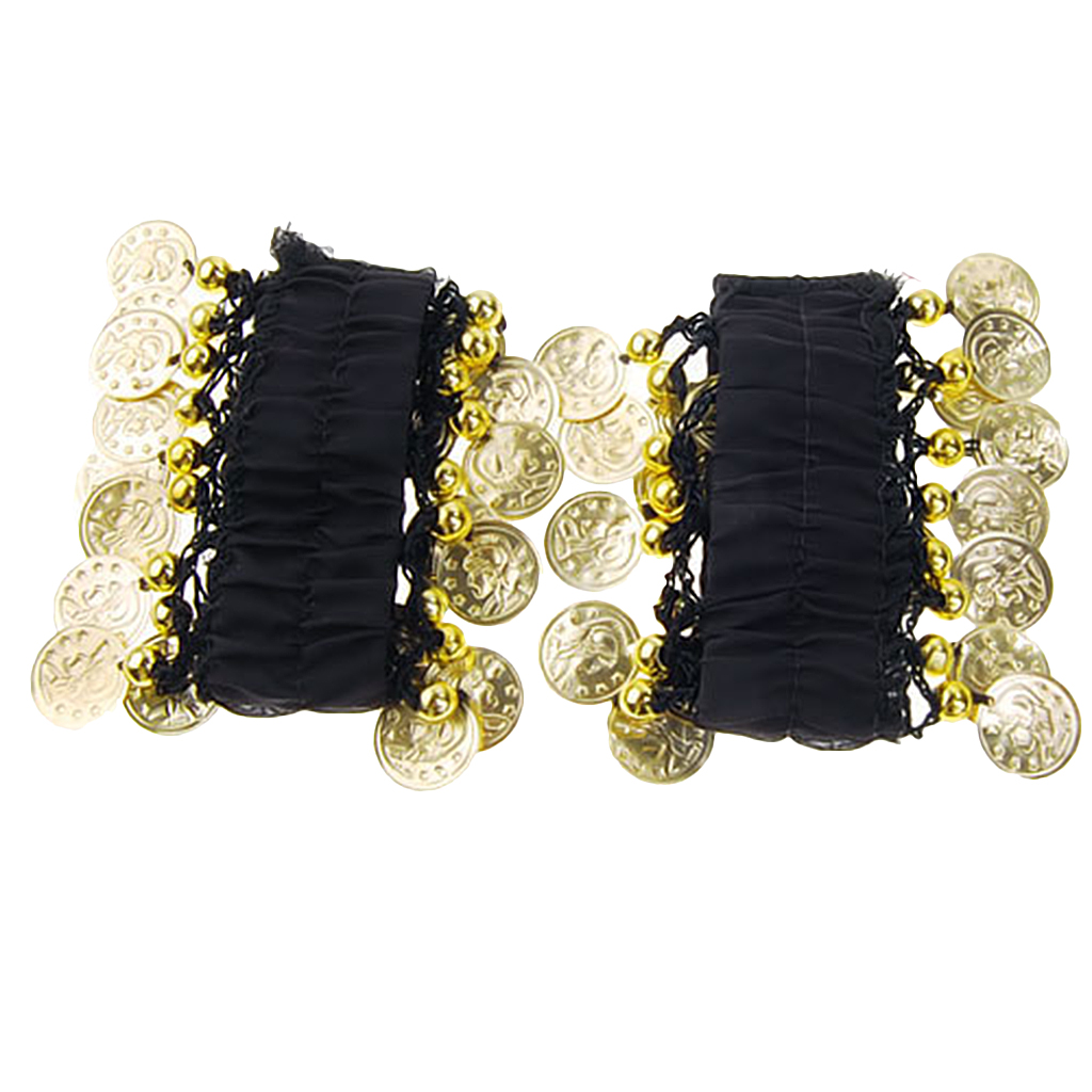 Pair Of Exquisite Craftsmanship Fashionable Style Chiffon Metal Coin Dazzling Beads Belly Dance Bracelets Black