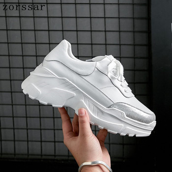 2019 Spring Women Flat Platform sneakers Shoes Genuine Leather Lace-up Woman Casual Shoes ladies sport shoes Flats Creeper