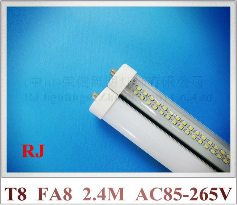 FA8 single pin LED tube light T8 SMD 3528 LED fluorescent tube T8 2.4m 240cm 2400mm 8 feet 8ft AC85-265V 4000lm 40W 25pcs/lot t8 led tube 1200mm light 18w120cm 4ft 1 2m g13 with holder fixture high power smd2835 fluorescent replacement 85 265v