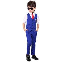Fashion Boy Suit for Weddings Prom Party 2T-11Y Children Slim Fit Suit Sets Boys Tuxedo Formal Vest Pants Classic Costume Black