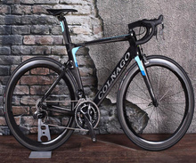 Black-Blue Colnago CONCEPT full Bike Complete carbon road bicycle With R8010 groupset 50mm carbon wheelset Novatec A271 hubs cheap CARROWTER Unisex Carbon Fibre Road Bike Other 150-200cm Double V Brake 1300*220*750 Other Pedals 120kg 10kg Resistance Rubber (Medium Gear Non-damping)