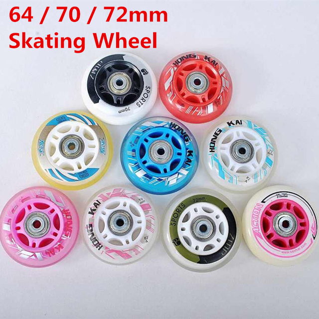 Recommend 64mm 70mm 72mm Inline Skates Wheel Roller Skate Wheels For Kids Children With Spacer And Bearing