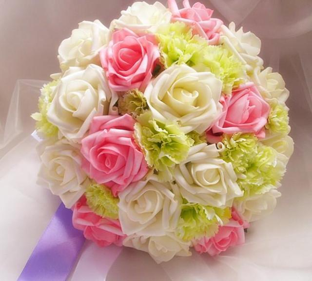 Artificial Flower Bouquet Bride Holding Cascading Wedding Rose ...