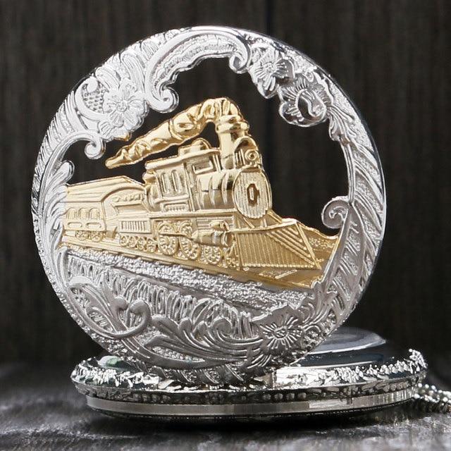 Vintage Silver Gold Train Carved Pendant 5