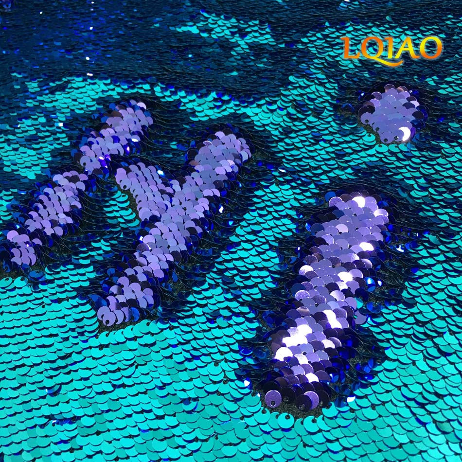LQIAO Mermaid Reversible Sequin Fabric By The Yard Sparkly color Change Fabric For Clothes/Part Cushion Decor-Turquoise/Purple