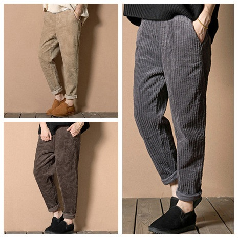 2da67fb9f4 2019 de las mujeres pantalones de pana Otoño Invierno recto Vintage  pantalones Plus tamaño M-4XL casuales de moda de cintura elástica pantalones  Harem