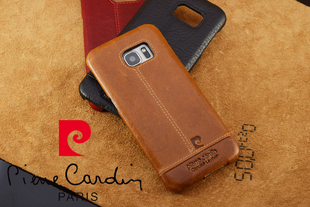 Pierre Cardin Case For Samsung Galaxy S7 S7 Edge Luxury Genuine Leather Hard Case Back Cover