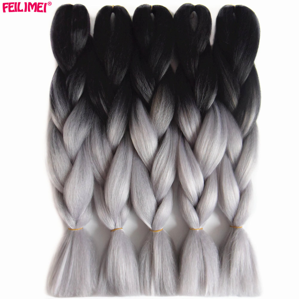 Feilimei Ombre Braiding Hair Extensions Synthetic Two/three Toned Jumbo Braids Black/green/gray/purple/blue/blonde Crochet Hair Sale Price Hair Extensions & Wigs Jumbo Braids