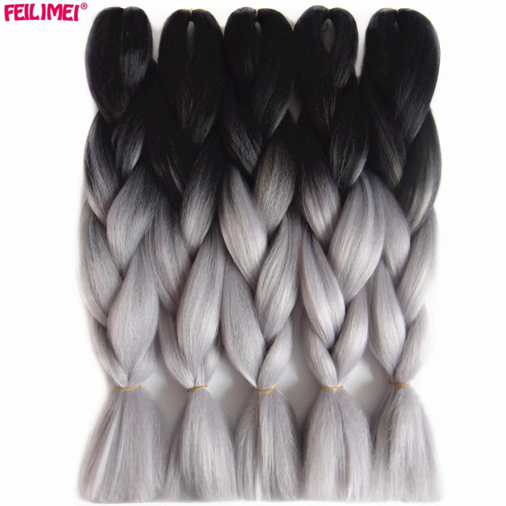 Накладные волосы Feilimei, синтетические, две/три тона, Джамбо, черные/зеленые/серые/фиолетовые/синие/светлые, вязаные крючком волосы