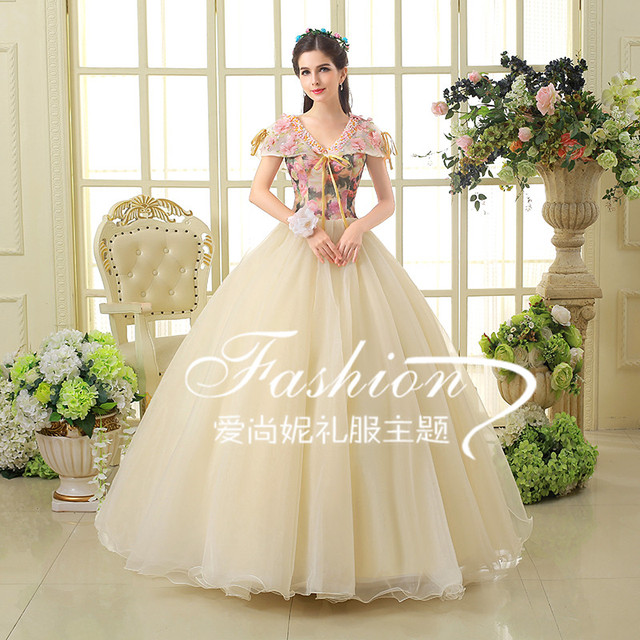 100%real shawl collar beading floral bowknot ball gown medieval ...