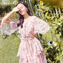 Ubei New Fairy dress pink chiffon print national style wide long chiffion flare sleeve bohemian full