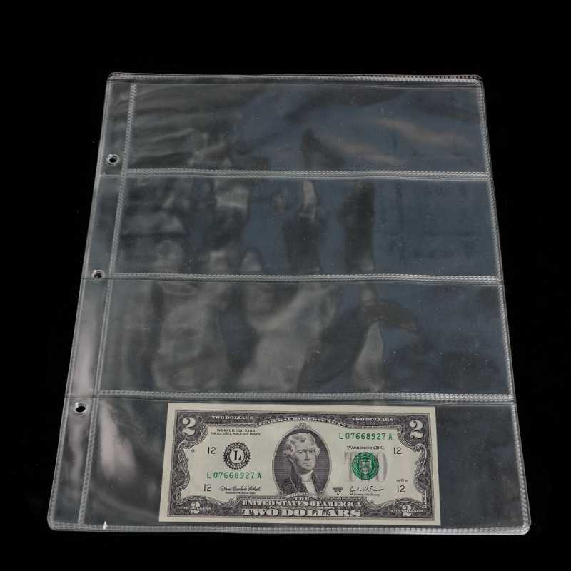 1 Sheet  Album Pages 4 Pockets photo Money Bill Note Currency Holder Storage Collection NEW