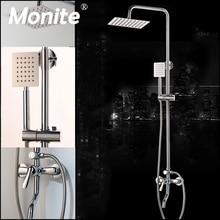 Monite כרום פולני מקלחת ברז אמבטיה 8 אינץ גשם קיר רכוב מקלחת סט מיקסר ברז להתאים גובה כף יד פונקציה