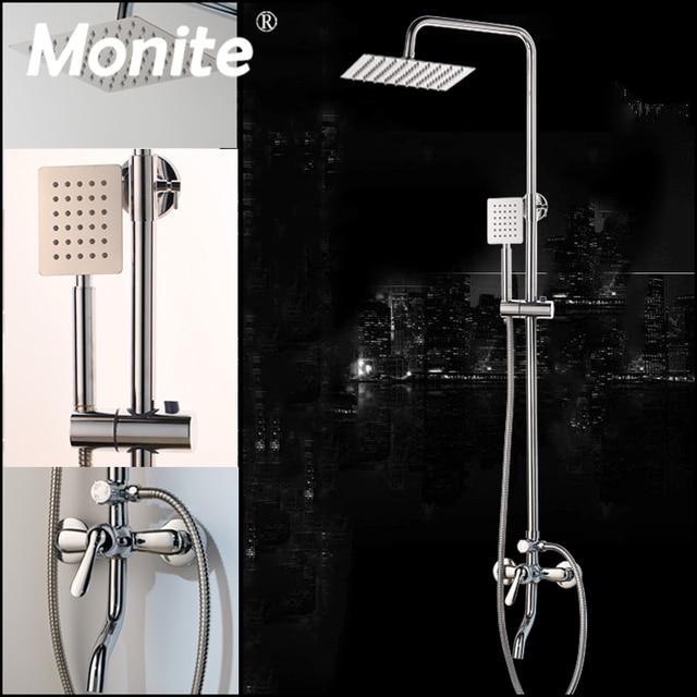Monite 크롬 폴란드어 샤워 꼭지 욕실 8 인치 강우량 벽 마운트 샤워 세트 믹서 수도꼭지 높이 핸드 헬드 기능 조정