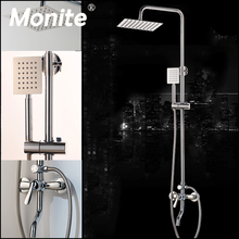 Monite Chrome Polish Shower Faucet Bathroom 8 Inch Rainfall Wall Mounted Shower Set Mixer Faucet Adjust Height Handheld Function