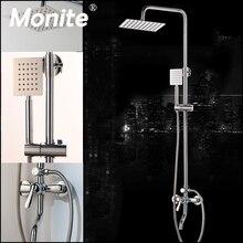 Monite Chrome poli robinet de douche salle de bain 8 pouces pluie mural ensemble de douche mélangeur robinet ajuster la hauteur fonction de poche