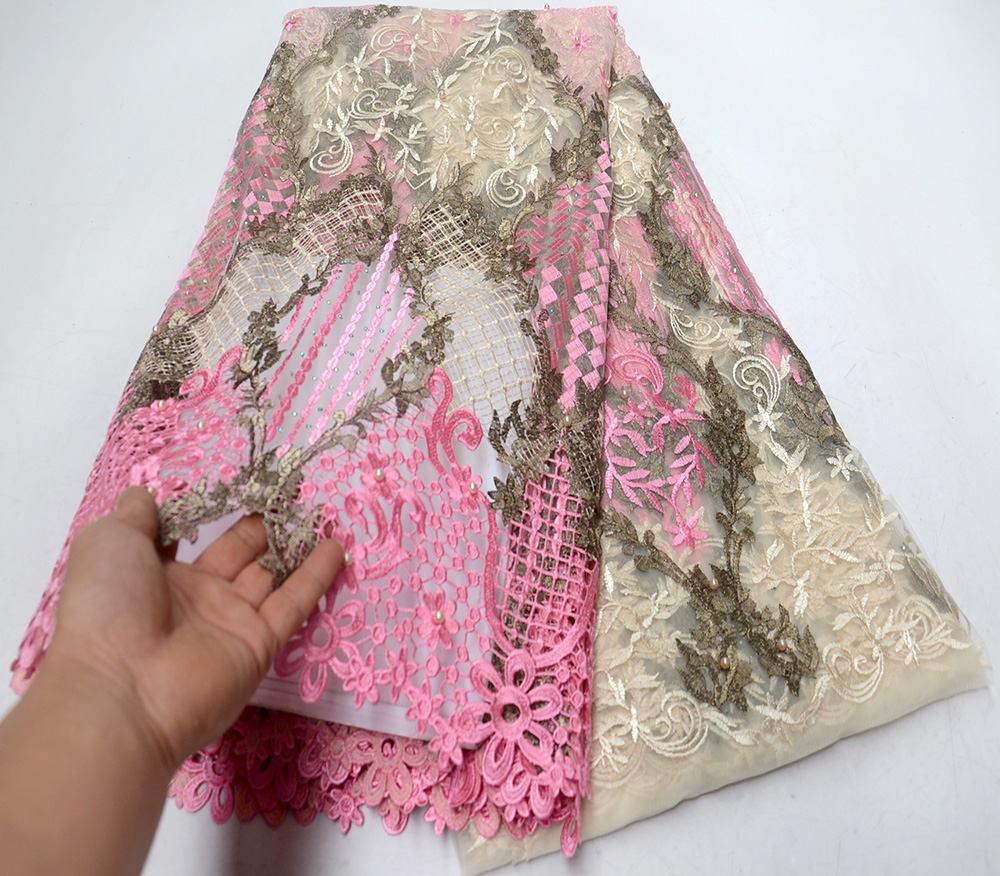 African Lace Fabric High Quality bead Fabric Embroidery Lace Trim Nigerian Party Lace Fabric For African Dress