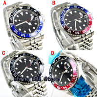 40mm parnis black sterile dial date GMT sapphire glass automatic mens watch