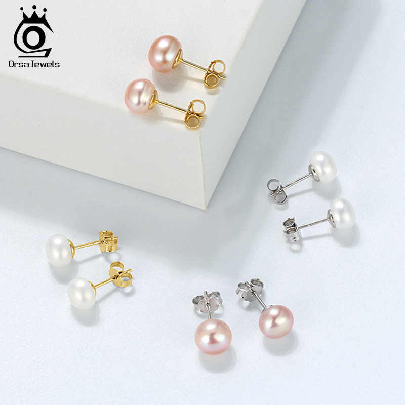 ORSA JEWELS Genuine Fresh Water Pearl Stud Earrings Women 8 MM White Pink Pearls 925 Sterling Silver Female Party Jewelry RSE86