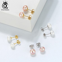 ORSA JEWELS Genuine Fresh Water Pearl Stud Earrings Women 8 MM White Pink Pearls 925 Sterling Silver Female Party Jewelry RSE86(China)