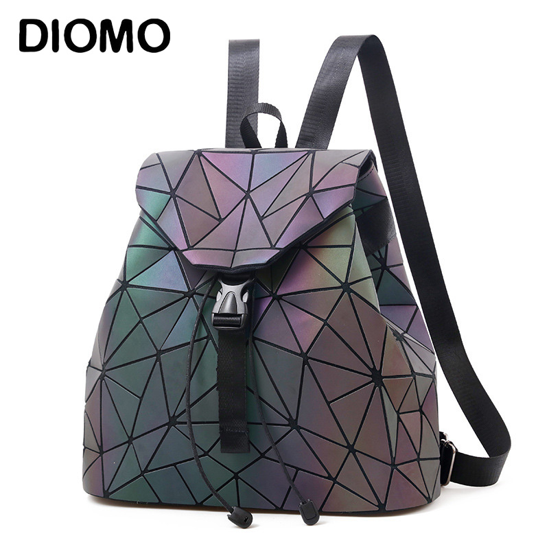 Women Backpack Luminous Geometric Plaid Sequin Female Backpacks For Teenage Girls Bagpack Drawstring Bag Holographic Backpack(China)