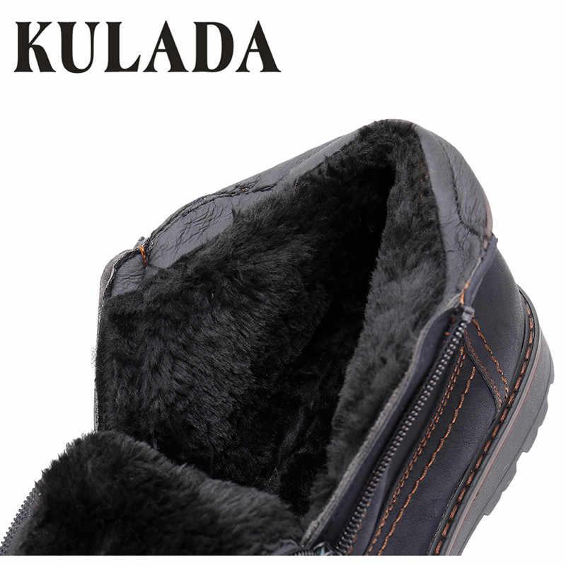 KULADA 2019 Mannen Laarzen Koe Suede Warmste Winter Boot Outdoor Werkschoenen Mannen Casual Zipper Side Comfortabele Winter Schoenen Hombre