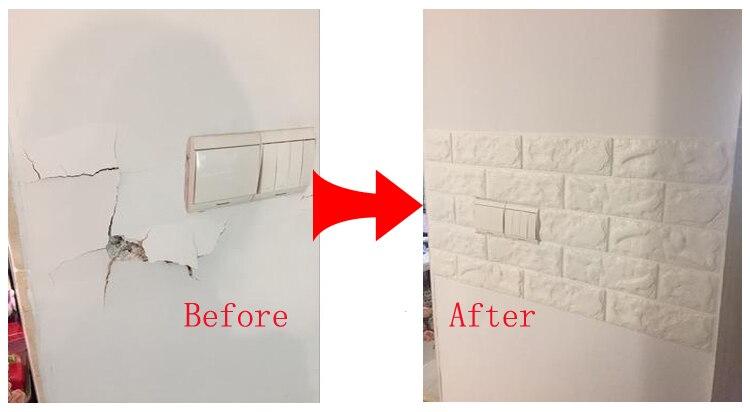 8 см x 70 см линия талии 3D Кирпич Наклейки на стену для Ванная комната Кухня Плитки Туалет Водонепроницаемый самоклеющиеся ПВХ границы 3D Накле...