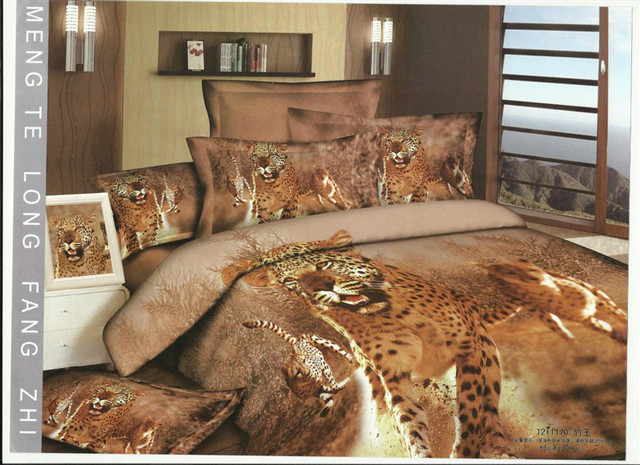 Hot Beautiful 100% Cotton 4pc Doona Duvet QUILT Cover Set bedding set Full / Queen/ King size 4pcs animal brown leopard tiger