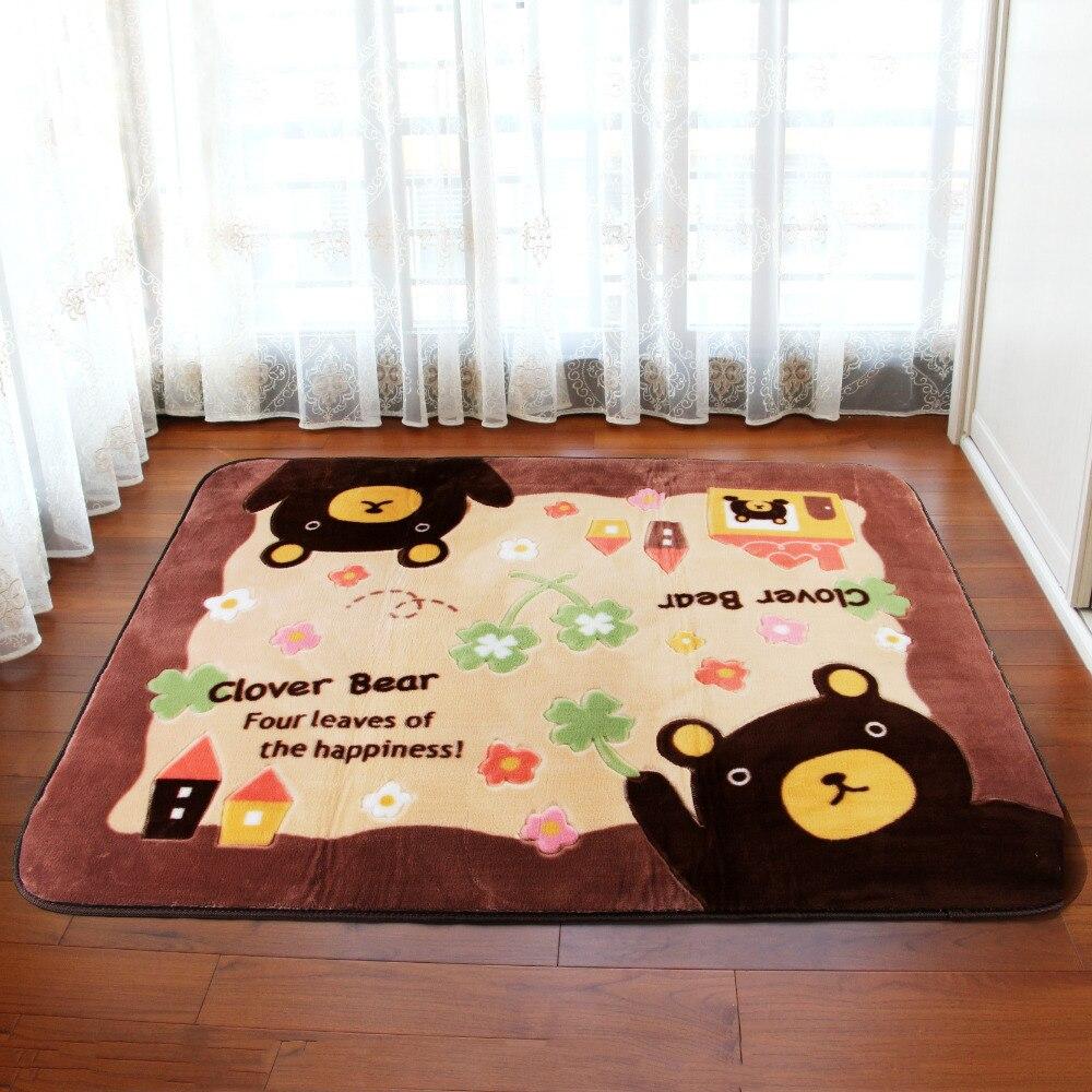 Mignon ours tapis doux acrylique polaire tapis de sol tapis dessin animé Animal ours avec fleurs canapé Table chaise tapis tapis antidérapant