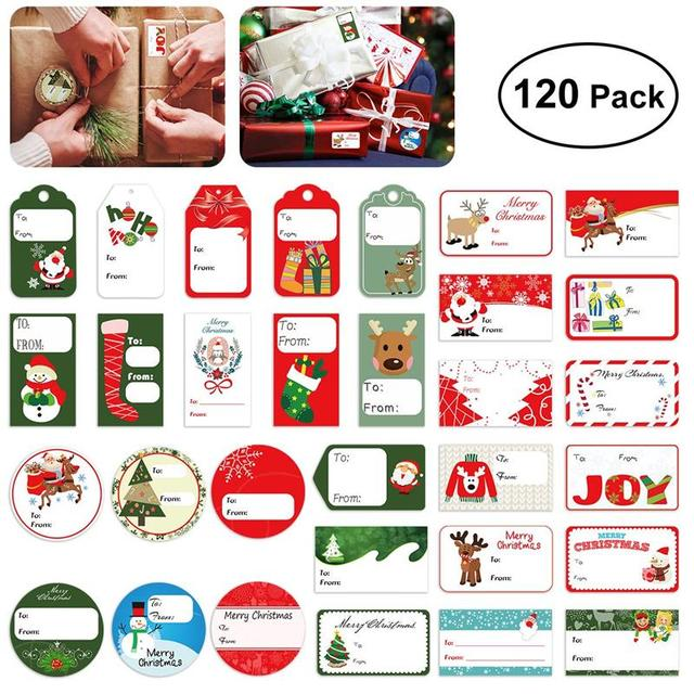 120PCS Gift Tag Stickers Christmas Self Adhesive Gift Tag Stickers