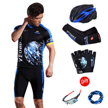 VEOBIKE Pro Team Cycling Jersey Men Short Sleeve Bicycle Wear Breathable Bike Clothing Man Cycle Clothes 2019 Sport Clothes Set
