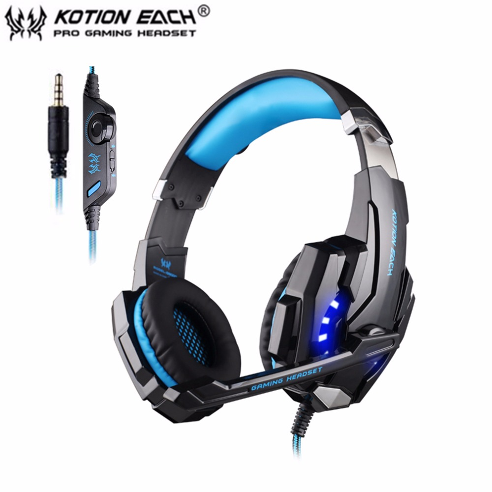 KOTION EACH G9000 3.5mm Gaming Headphone Microphone USB Single Hole Headset LED Light For PS4 Laptop Tablet Mobile Phones each g1100 shake e sports gaming mic led light headset headphone casque with 7 1 heavy bass surround sound for pc gamer