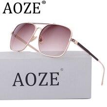 AOZE caliente-venta steampunk doble haz gafas de sol hombres Mujeres UV400 retro gafas de sol cuadradas MACH 62 MM de Alta calidad protectora