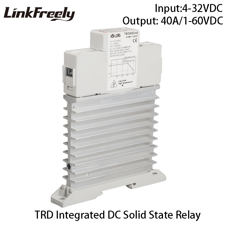 цена на TRD060D40M1 Single Phase Integrated DC Solid State Relay 5V 12V 24V DC Input SSR 40A DC control DC Heat Sink Relay DIN Rail