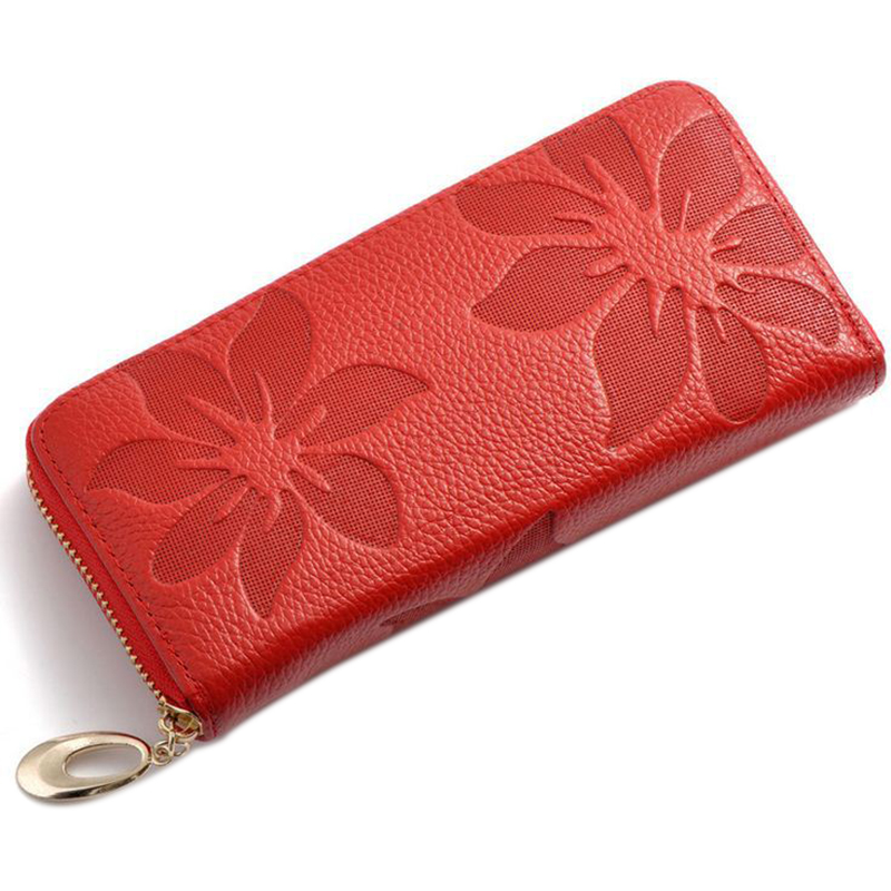 Women Wallets Fashion Flower Print Genuine Leather Wallets Women Clutch Wallets Lady Vintage Clutch Bag Coin Purse WomenRed