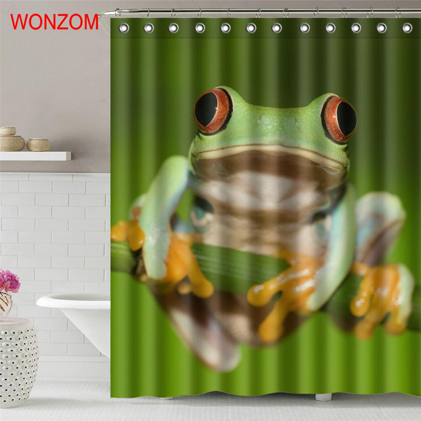 Wonzom 1pcs Bird Waterproof Shower Curtain Panda Frog Bathroom Decor Animal Decoration Cortina De Bano 2017 Bath Gift In Curtains From Home