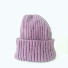 New Fashion Line Knitted Hat Men and Womens Artificial Winter solid Beanies
