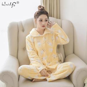 Image 4 - Зимние пижамные комплекты для женщин из двух предметов, фланелевый толстый теплый топ и штаны, пижамные комплекты, милые животные, кавайные пижамы, одежда для сна, Пижамный костюм